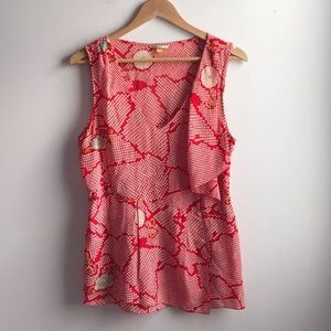 Leifsdottir Red cream floral print silk drape top